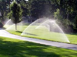 Lawn being watered by sprinkler system